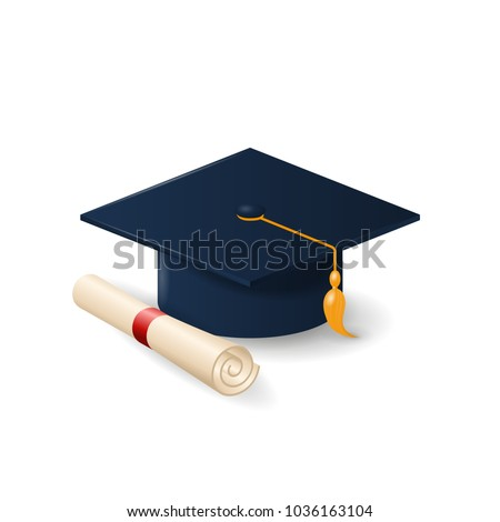 50b5412f Graduation cap or mortar board and rolled diploma scroll . Vector realistic  education design element isolated