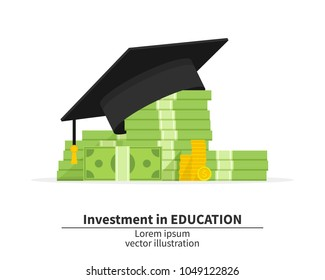 Graduation cap on pile of money and coins. Concept of education costs. Spending education money investment flat. Study cash. Tuition fees. Tax. Pay. Vector illustration