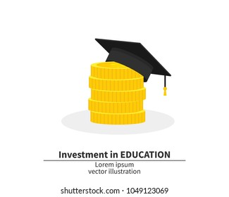 Graduation cap on pile of money and coins. Concept of education costs. Spending education money investment flat. Study cash. Tuition fees. Tax, pay. Vector illustration