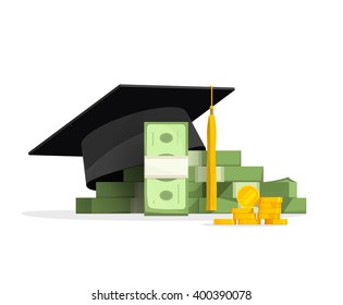 Graduation cap on pile of money and coins, concept of education costs, study cash, tuition fees, tax, pay, spending education money investment flat.