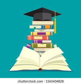 Graduation cap on stack of books. Academic and school knowledge, education and graduation. Reading, e-book, literature, encyclopedia. Vector illustration in flat style