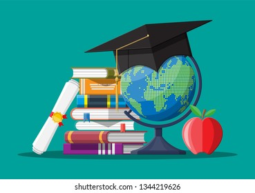 Graduation cap on stuck of books, globe and apple. Academic and school knowledge, education and graduation. Vector illustration in flat style