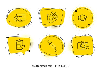 Graduation cap, Social responsibility and Photo camera signs. Chat bubbles. Patient history, Bitcoin chart and Chemistry pipette line icons set. Vector
