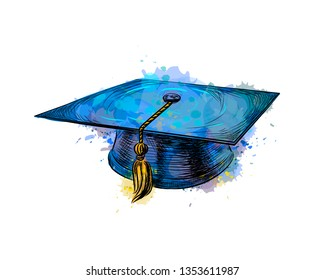 Graduation cap, square academic cap from a splash of watercolor, hand drawn sketch. Vector illustration of paints