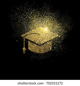 Graduation cap symbol concept illustration, gold college student icon made of realistic golden glitter dust on black background. EPS10 vector.