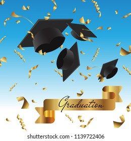 Graduation cap thrown up and golden foil confetti on a blue sky background. Students life concept