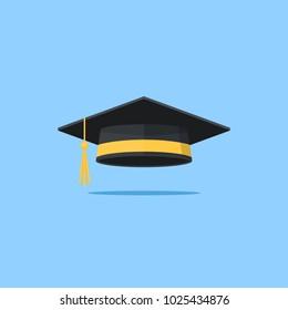Graduation cap vector flat illustration