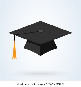 Graduation cap vector icon. flat illustration hat education symbol