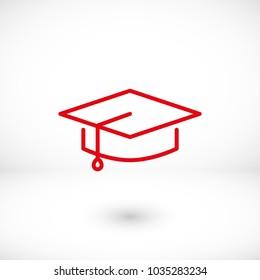 Graduation cap vector icon,  hat student icon