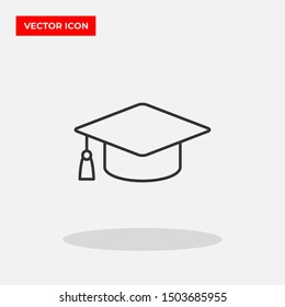 Graduation cap vector icon in trendy flat style