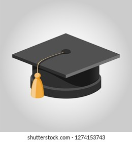 Graduation Cap with white background Vector in 3D view
