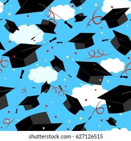 Graduation Caps in the Air. Graduate Background.