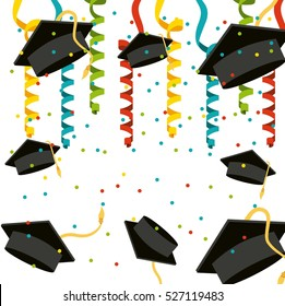 graduation caps and colorful serpentine decorations over white background. vector illustration