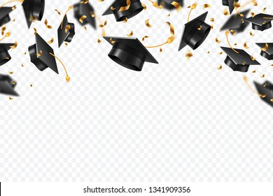 Graduation caps confetti. Flying students hats with golden ribbons isolated. University, college school education vector background