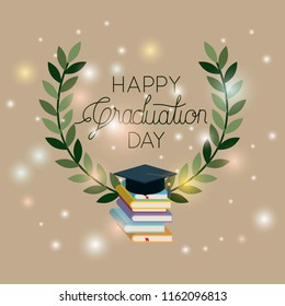 graduation card with books and hat