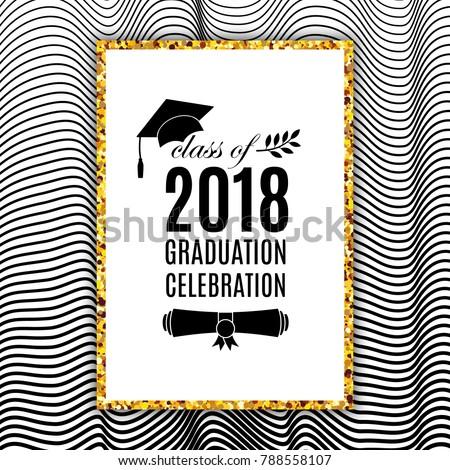 graduation celebration 2018 class greeting card stock vector