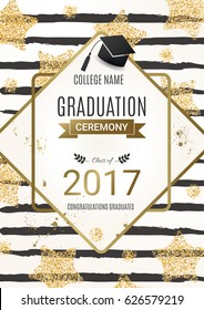 Graduation ceremony design with golden glitter stars. Congratulations Graduates. Class of 2017. Vector design for the graduation party invitation.