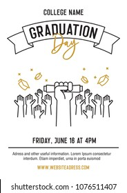 Graduation ceremony party invitation card with hands raised throwing academic hats up and showing diplomas. Vector template design with line icons for highschool, college or university student event