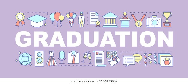 Graduation ceremony word concepts banner. Receiving academic degree. Diploma awarding. Graduation party. Isolated lettering typography idea with linear icons. Vector outline illustration
