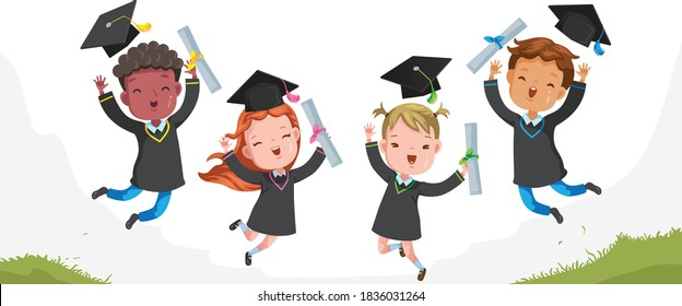 Graduation Children jumping.  Graduate group. Gestures very happy. Cheers! Success. Concept illustration of Diploma graduating little for kid. Successful Strong, growing and intelligent. vector