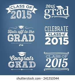 Graduation Class of 2015 Congratulations Vectors Hats off to the Grad - Vector Set
