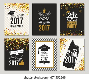 Graduation Class of 2017 greeting cards set. Vector party invitations. Grad posters. Isolated