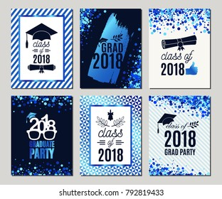 Graduation Class of 2018 blue glitter greeting cards set. Vector party invitations. Grad posters. All isolated and layered