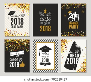 Graduation Class of 2018 greeting cards set. Vector party invitations. Grad posters. All isolated and layered
