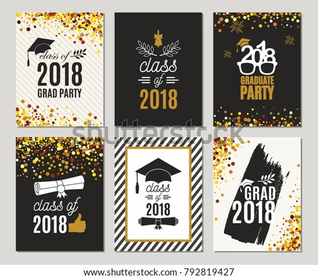 Graduation Class Of 2018 Greeting Cards Set Vector Party Invitations Grad Posters All