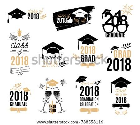 graduation class 2018 labels design set のベクター画像素材