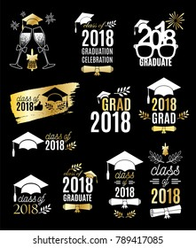 Graduation class of 2018 labels golden design set. Concept for shirt, print, seal, overlay, stamp, greeting card, invitation. Vector sign or logo. All isolated and layered