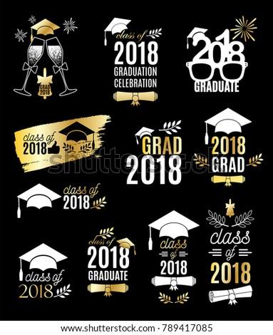 graduation class 2018 labels golden design のベクター画像素材
