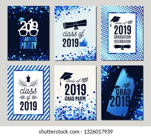 Graduation Class of 2019 blue glitter greeting cards set of six. Vector party invitations. Grad posters. All isolated and layered