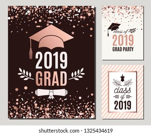 Graduation Class of 2019 greeting cards set in rose gold confetti colors. Three vector grad party invitations. Grad posters. All isolated and layered