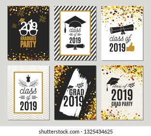 Graduation Class of 2019 greeting cards set of six templates in gold colors. Vector party invitations. Grad posters. All isolated and layered