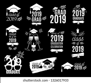 Graduation class of 2019 labels design set. Concept for shirt, print, seal, overlay, stamp, greeting card, invitation. Vector sign or logo. All isolated and layered