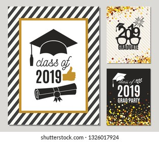 Graduation Class of 2019 three greeting cards set in gold colors. Vector grad party invitations. Grad posters. All isolated and layered