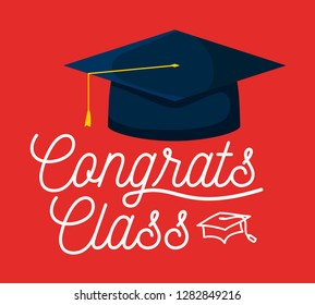graduation class celebration card with hat