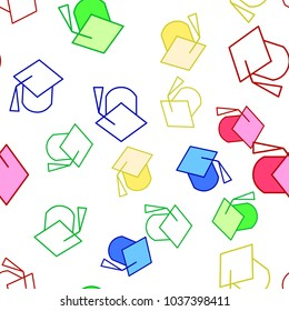 Graduation college hat vector pattern. Seamless background illustration. Cute outline cartoon texture, textile fabric, print. Hipster wrapping paper, book cover, clothes, and pattern for kids,children