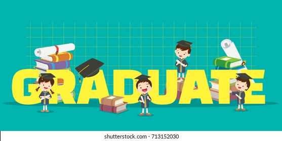 Graduation concept illustration.Students Boy and Girl Graduated various actions with elements ,Books, certificates around big Letter.