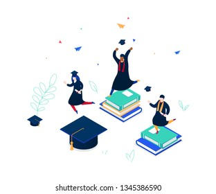 Graduation concept - modern colorful isometric vector illustration on white background. A composition with international students in academic caps and mantles, celebrating, holding diplomas, jumping