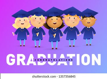 Graduation, Congratulations banner design. Joyful graduates holding diplomas and celebrating on violet background. Illustration can be used for banners, flyer, celebrating