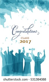Graduation congratulations of class 2017 in watercolors