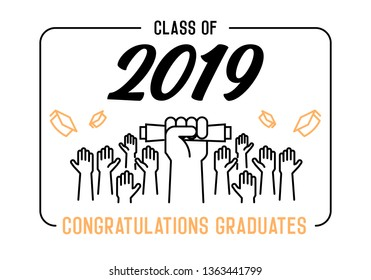 Graduation Day. Class of 2019 celebration. Graduates celebrating and throwing their academic hats into the air. End of academic year. Hand grabbing diploma certificate as a sign of success.