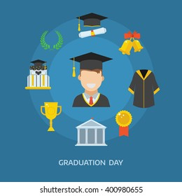 Graduation day concept with celebration cartoon elements. Happy student guy with icons of school, wreath, insignia, trophy, pie, graduational cap, diploma, gown and bell. Graduate man smiling flat.