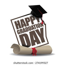 Graduation Day icon EPS 10 vector royalty free stock illustration for greeting card, ad, promotion, poster, flier, blog, article, social media, marketing