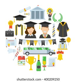 Graduation day. Man and woman graduates in hats and gown. Graduation vector icon set of student celebration ceremony elements in circle form. Graduational party accessories. Finish education concept.
