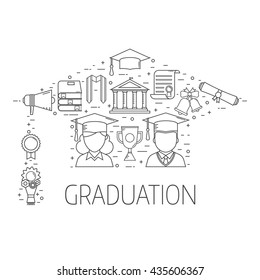 Graduation day outline vector set of exam celebration elements. Man and woman graduates celebrating finish education line art concept in graduational hat shape. Educational postcard or invitation.