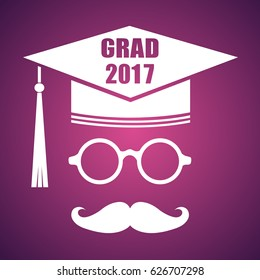 Graduation design with hut and text Congrats Grad. Vector congratulations graduates Class of 2017 badge. Concept for shirt, print, seal, overlay or stamp, greeting, invitation card. Typography design.