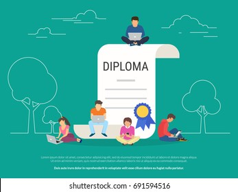 Graduation diploma concept vector illustration of young people using laptop, tablet pc and smartphone for distance studying and education. Flat design of guys and young women near big diploma symbol